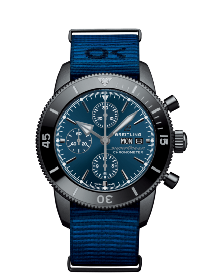 cheapest price Breitling Superocean Héritage II Chronograph 44 Outerknown Black steel Blue
