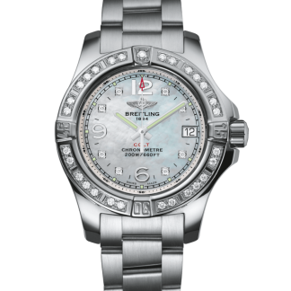 high quality Breitling Colt Lady Steel gem-set bezel Pearl Diamond