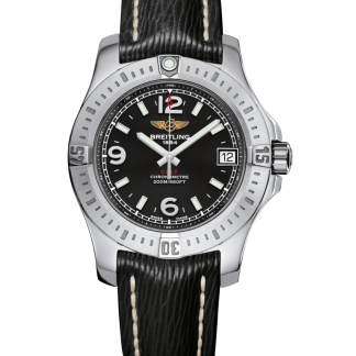 luxury replica Breitling Colt 36 Steel Volcano Black