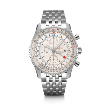 mens watches Breitling Navitimer 1 Chronograph GMT 46 Steel Silver