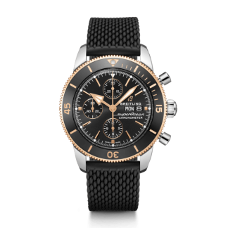 replica watches Breitling Superocean Héritage II Chronograph 44 Steel & rose gold Volcano black/black